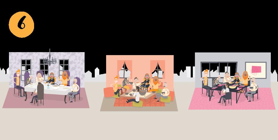 6 Kochrunden an unterschiedlichen Orten